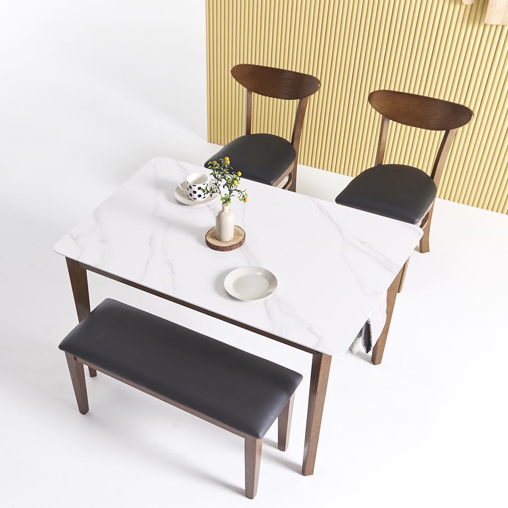 보니애가구 노블리 포셀린 통12T 세라믹식탁세트 4인용, 월넛 쿠션벤치형