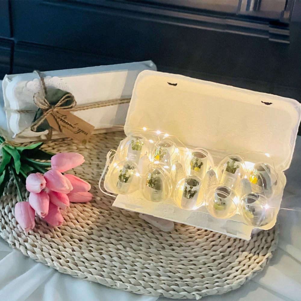 러블리팜 에그머니박스 10구 + LED 조명 + 왕관 스티커