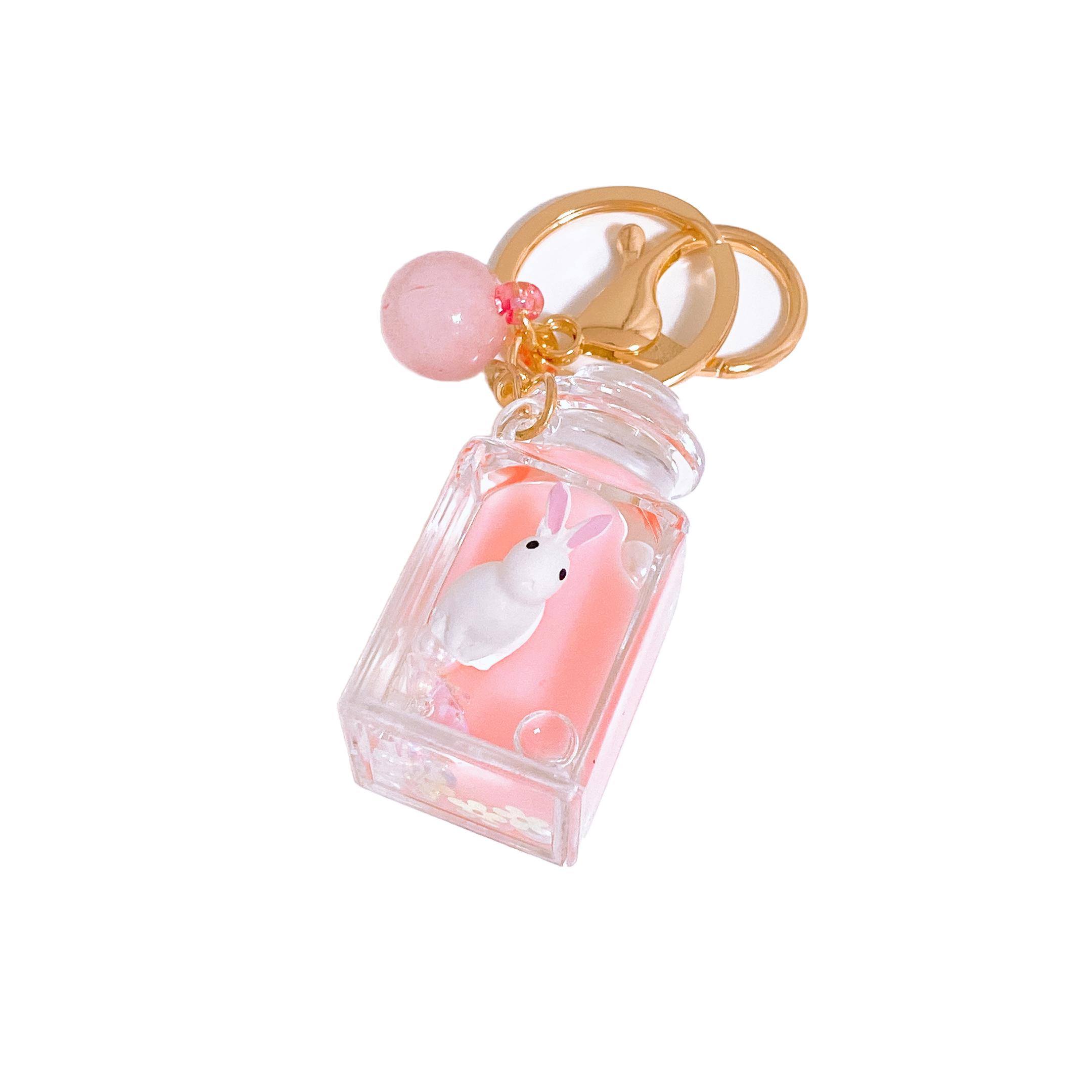 미완성잡화점 워터볼 동물둥둥 키링, 토끼 + 딸기우유볼, 1개