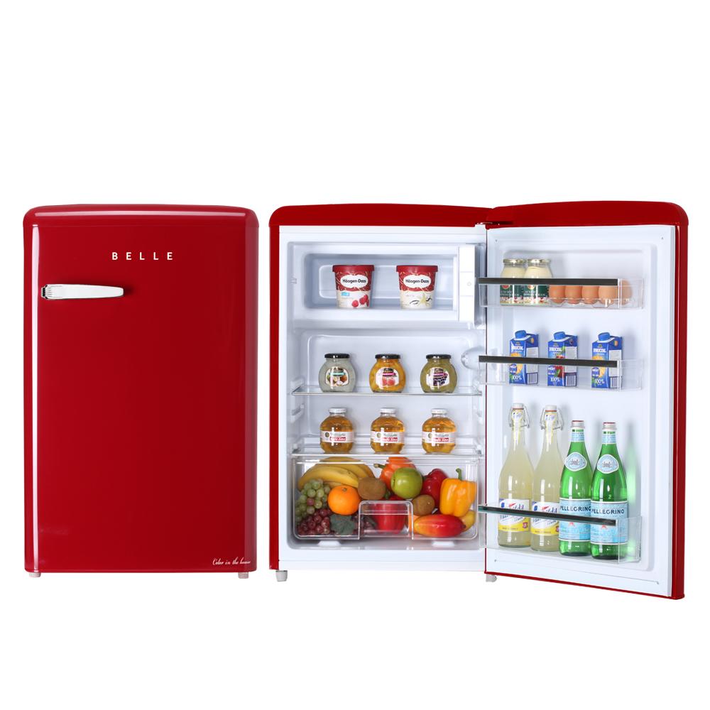 BELLE 레트로 글라스 원도어 냉장고 110L 방문설치, RS11ARD (POP 5689185027)