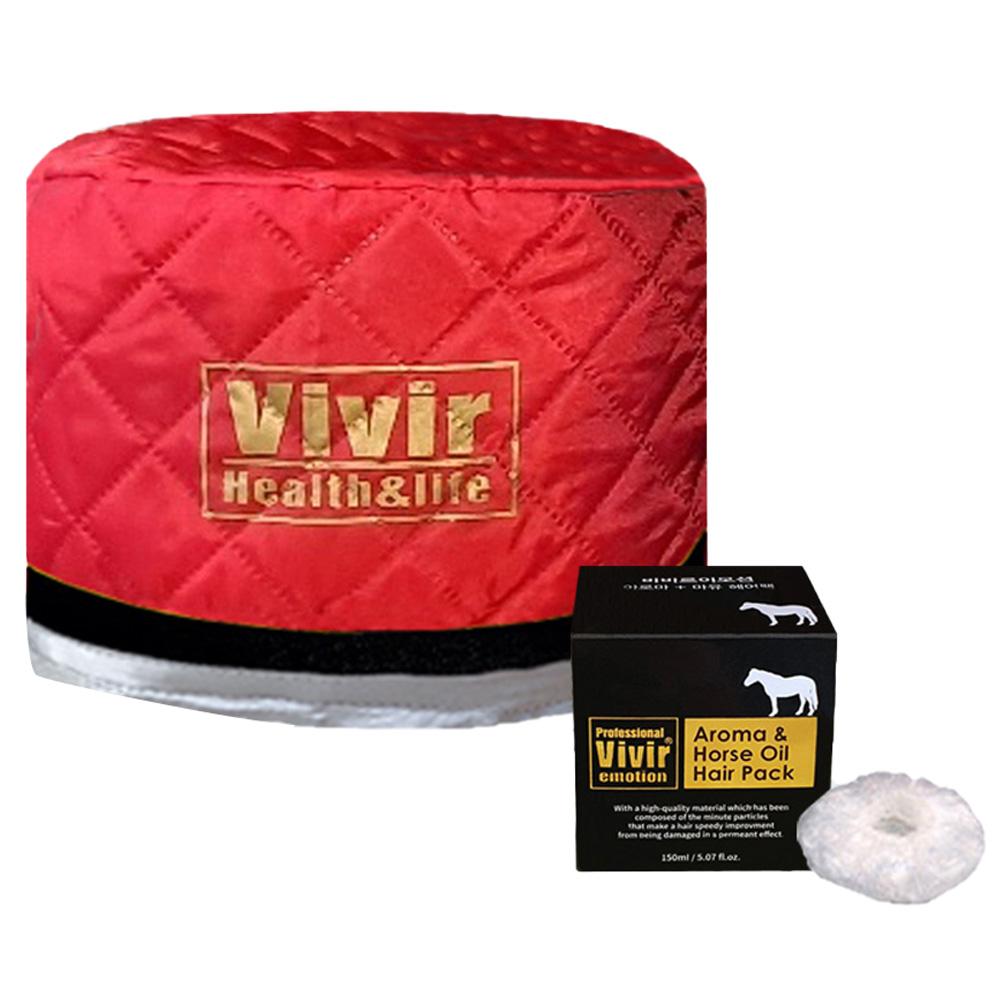 비비르뷰티 홈케어 열처리 트리트먼트 헤어캡 + 아로마마유 헤어팩 + 비닐캡 세트, 레드(헤어캡), WH-1