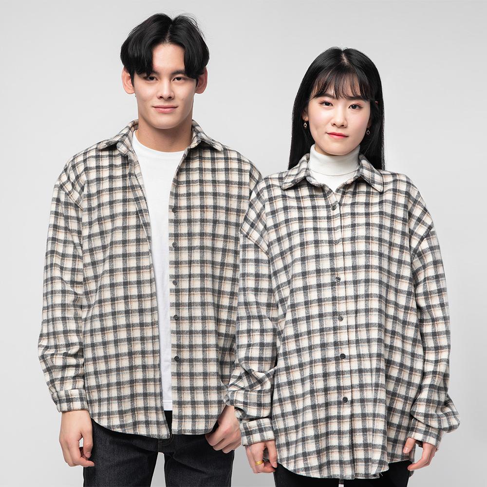 캐럿 남녀 공용 루즈핏 기모 체크 셔츠