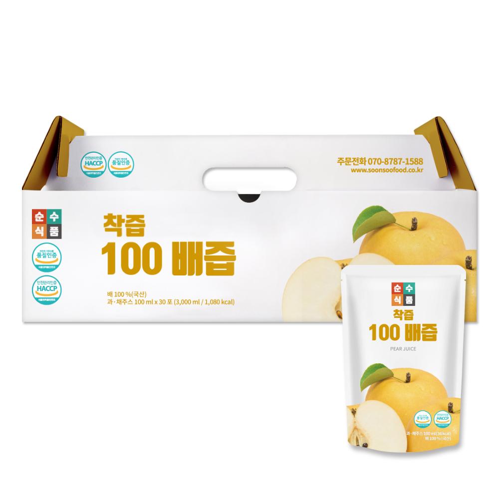 순수식품 착즙 100% 배즙, 100ml, 30개입