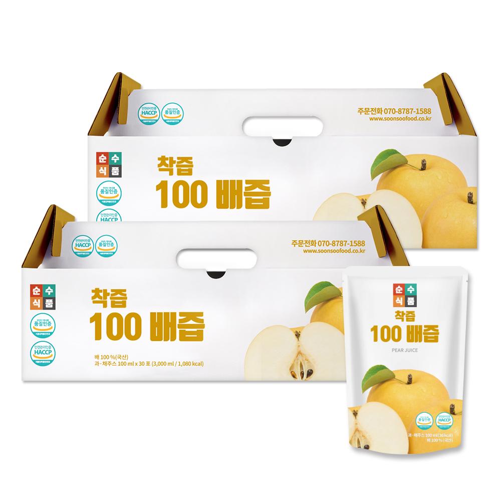 순수식품 착즙 100% 배즙, 100ml, 60개입