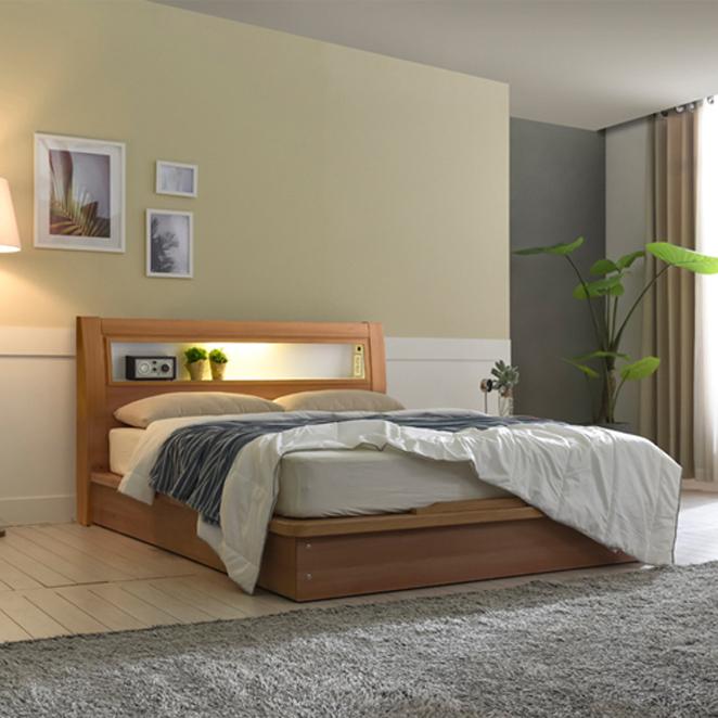 크렌시아 라이 LED 침대 + 본넬매트리스 방문설치, 아카시아