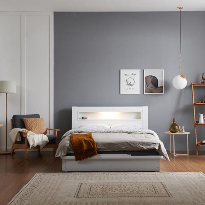 크렌시아 라이 LED 침대 + 본넬매트리스 방문설치, 화이트