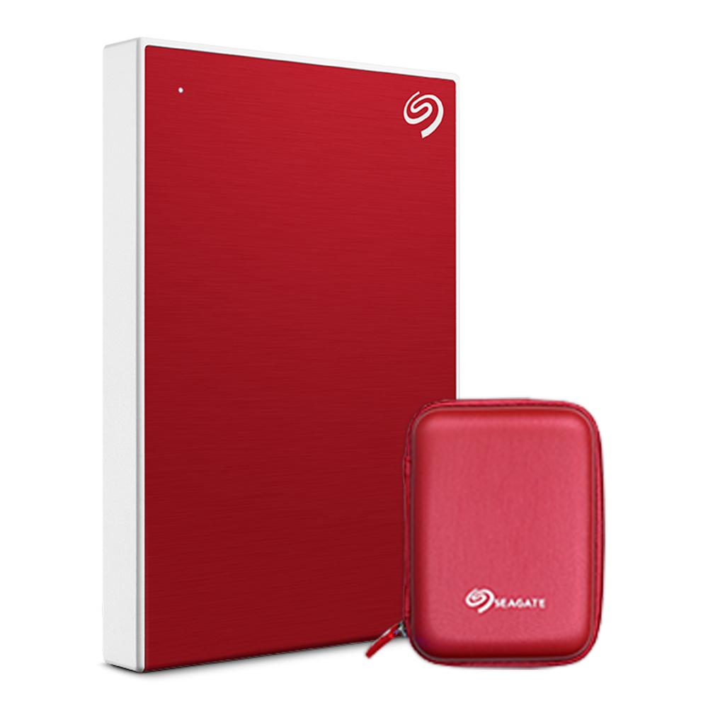 씨게이트 외장하드 Backup plus Slim + Rescue + 파우치, 1TB, Red (POP 213686107)