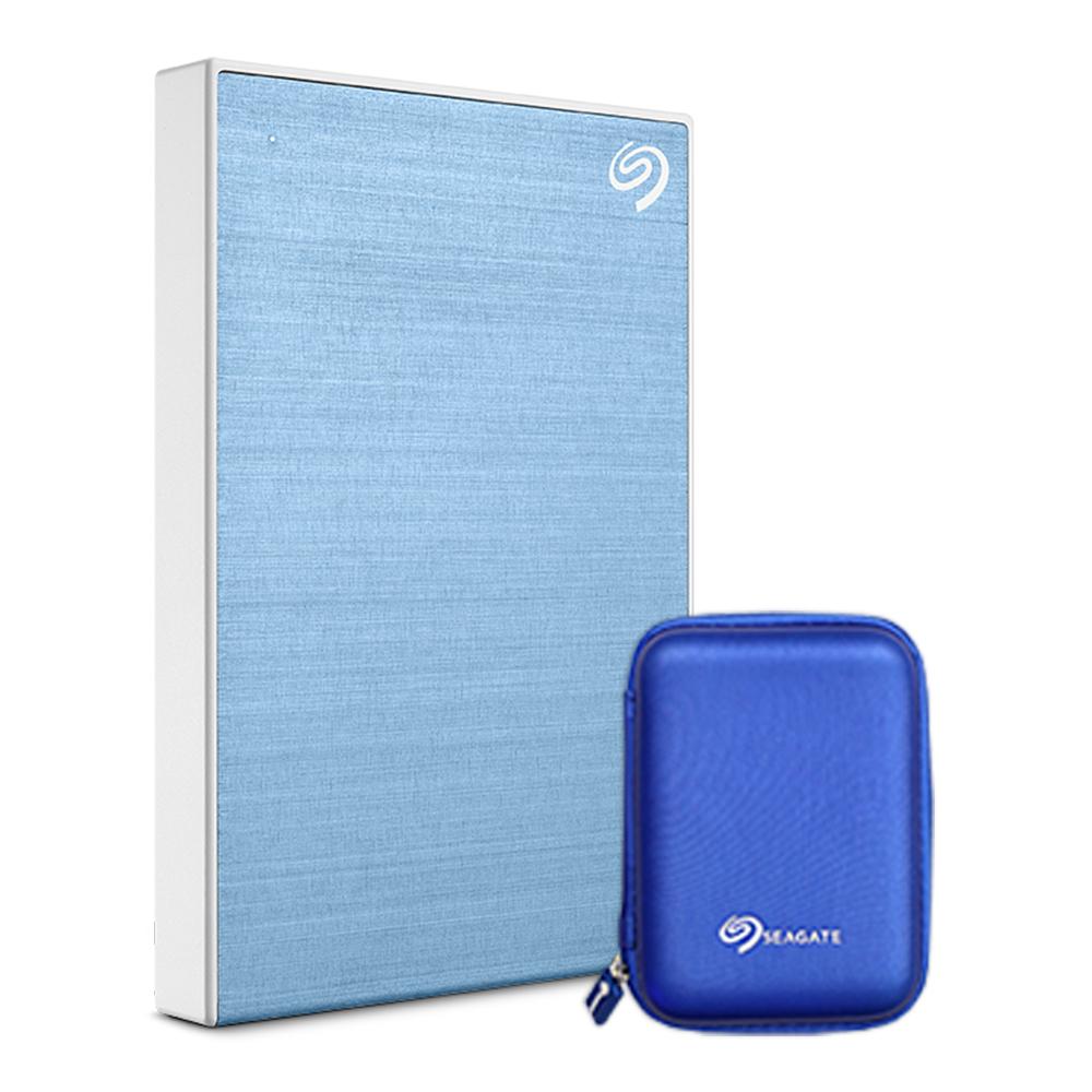 씨게이트 외장하드 Backup plus Slim + Rescue + 파우치, 1TB, LightBlue (POP 213686107)