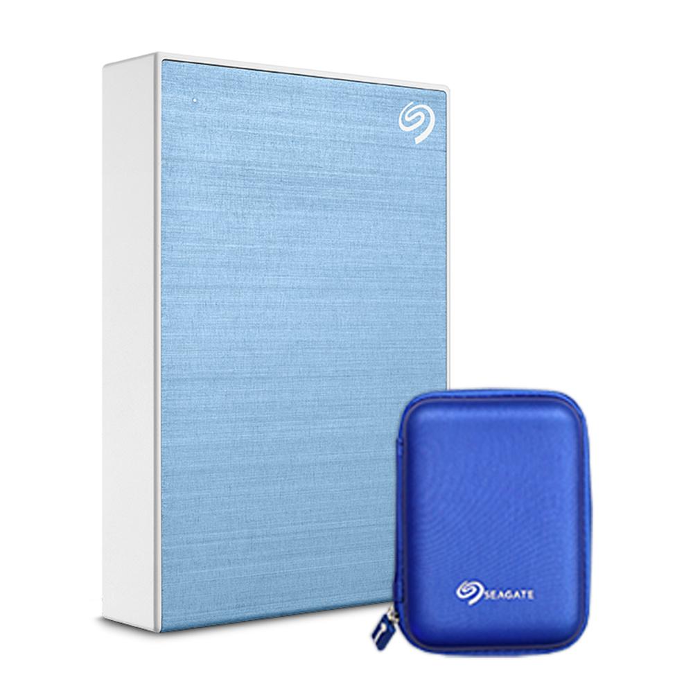 씨게이트 Backup Plus 포터블 외장하드 + 파우치, 4TB, LightBlue