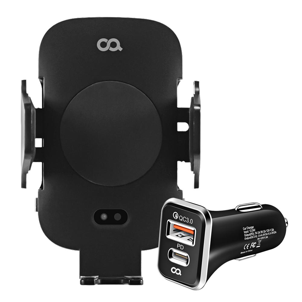 오아 자동 슬라이딩 차량용 핸드폰 무선 충전 거치대 + 듀얼포트 고속충전 시거잭 세트, 1세트, 블랙
