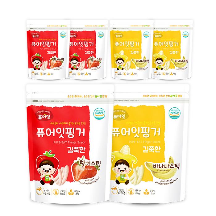 퓨어잇 핑거 쌀과자 딸기스틱 3p + 바나나스틱 3p, 1세트