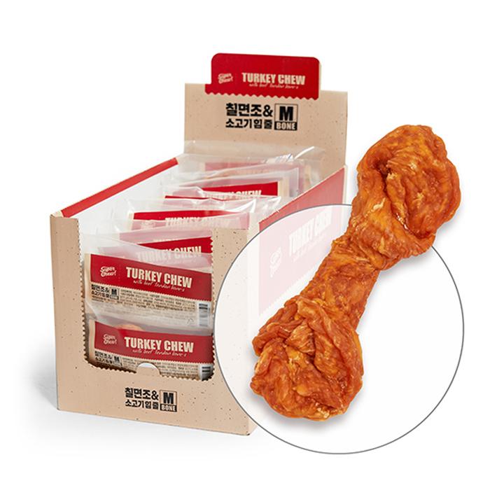 터키츄 칠면조와 소고기 힘줄 본타입 M, 칠면조 + 소고기 혼합맛, 10개