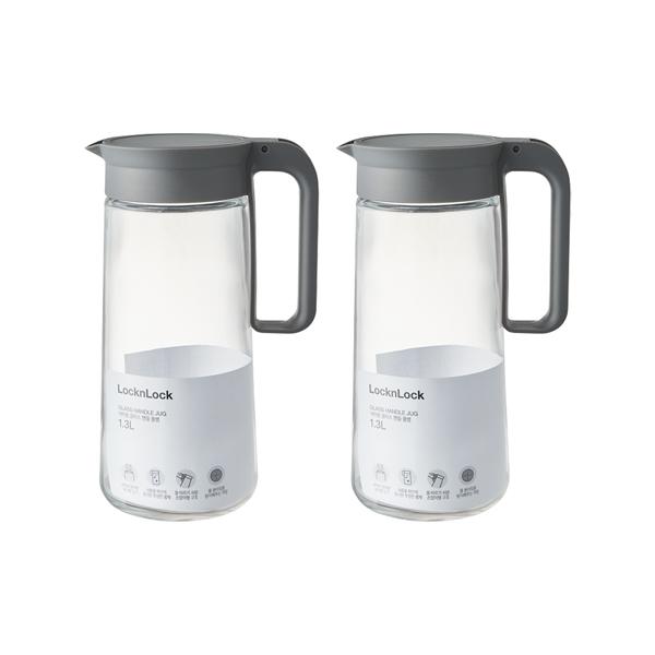 [주방용품] 락앤락 식탁용 글라스 핸들 물병 2p, 투명, 1.3L - 랭킹32위 (11000원)