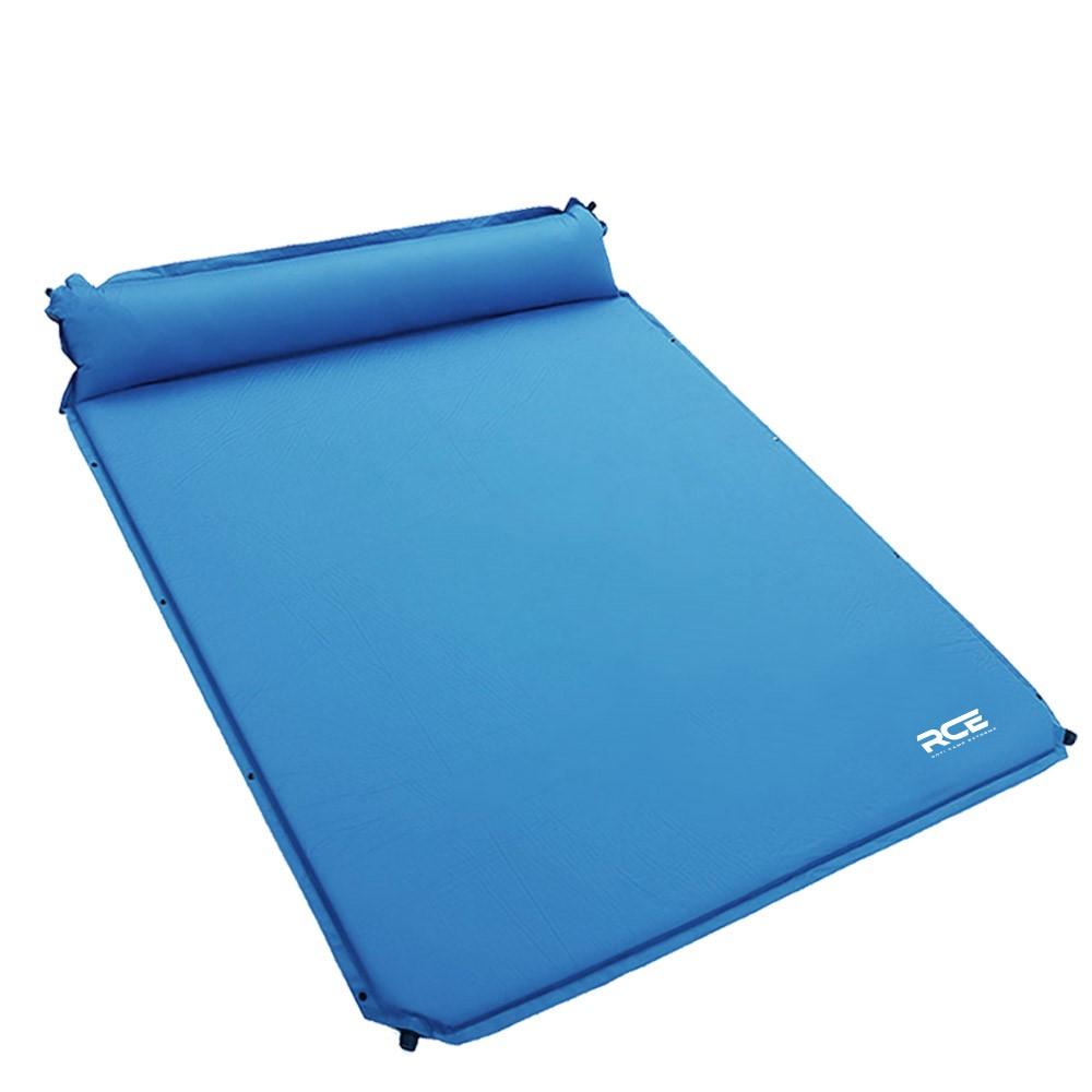 로티캠프 자충식 더블 에어매트 베개일체형, 블루