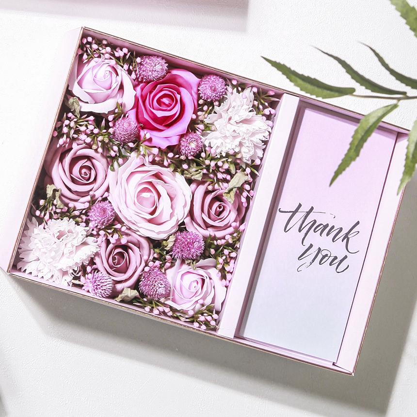 림드 비누꽃 플라워 기프트 용돈박스 L + 쇼핑백, 러블리 핑크
