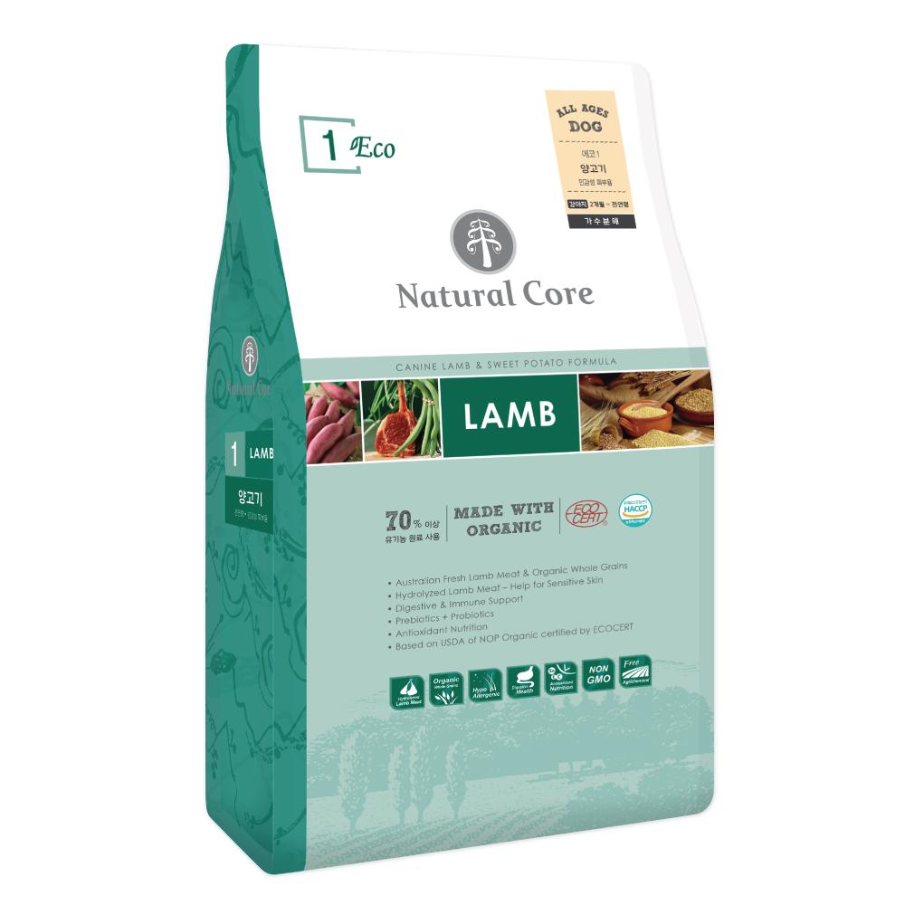 네츄럴코어 전연령 양고기 ECO1 유기농 애견사료, 5kg, 1개