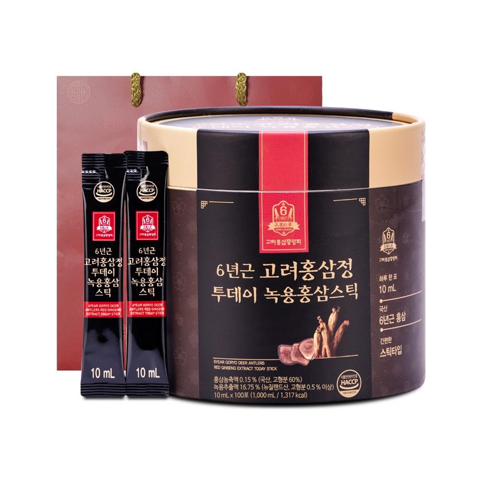 고려홍삼중앙회 6년근 고려홍삼정 투데이 녹용홍삼스틱 + 쇼핑백, 10ml, 100개