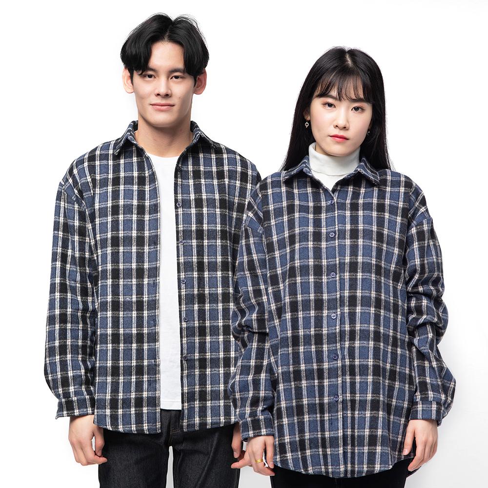 캐럿 남녀 공용 루즈핏 기모 플란넬 체크 셔츠