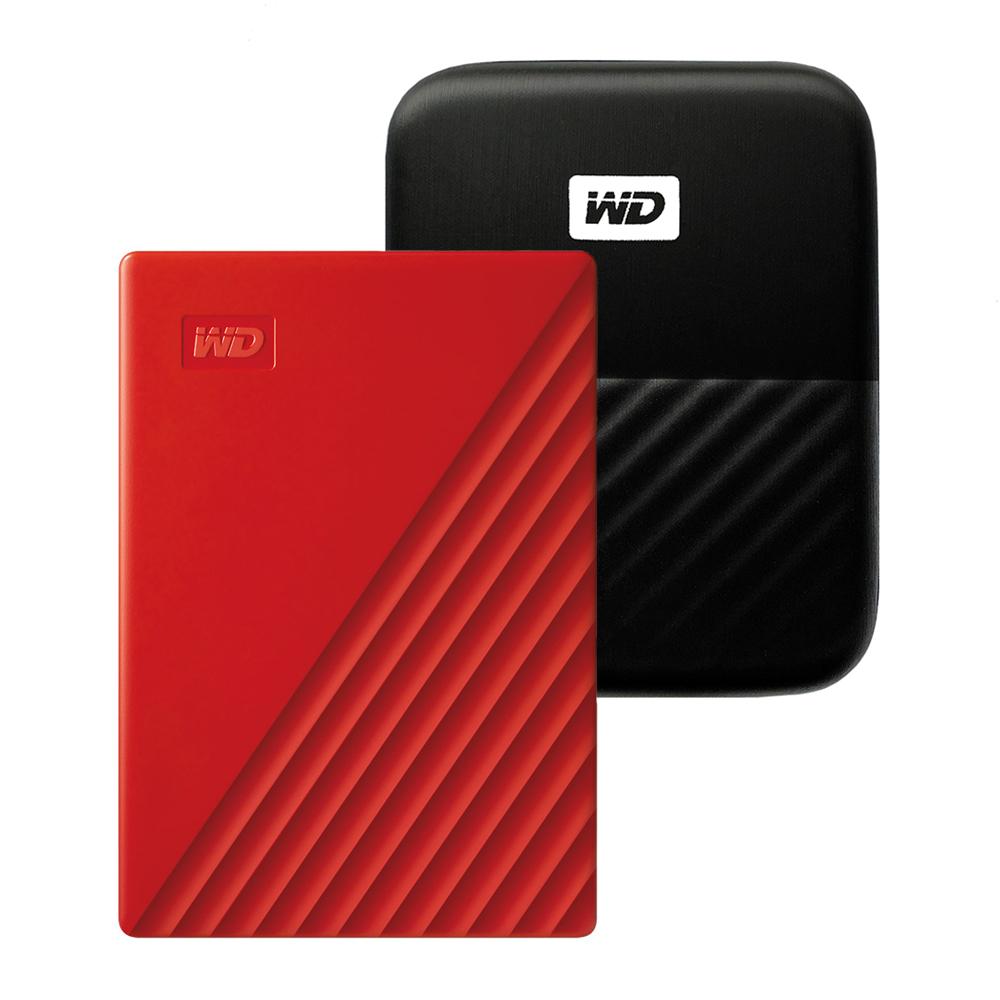 WD My Passport 휴대용 외장하드 + 파우치, 2TB, 레드