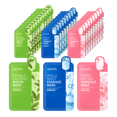 메디힐 더블 카밍 워터 마스크 10p +히알루 모이스트 에센스 마스크 10p +펩타 리프팅 앰플 마스크 10p, 1세트