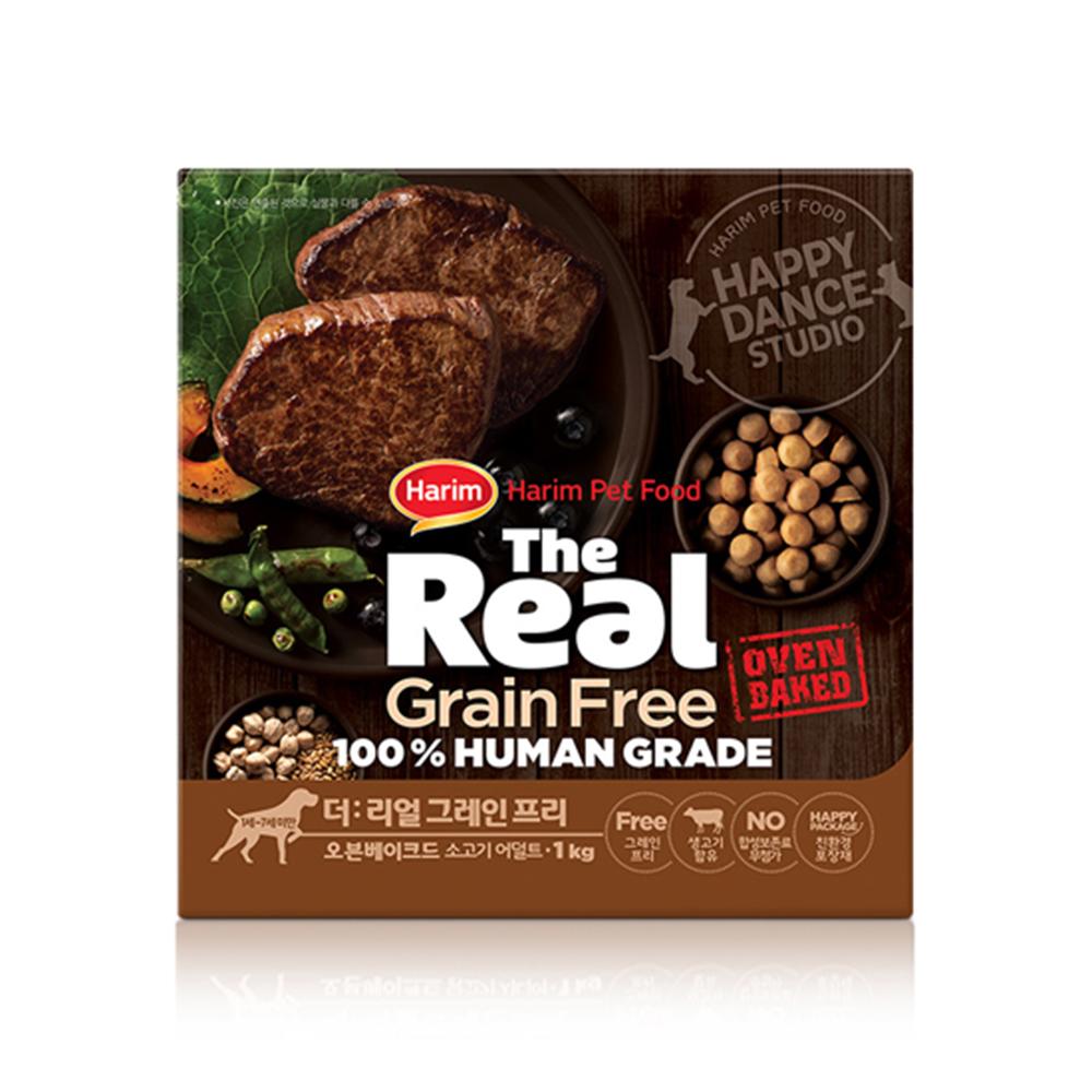 하림 펫푸드 어덜트 소고기 더리얼 그레인프리 오븐베이크드 강아지 사료, 1kg
