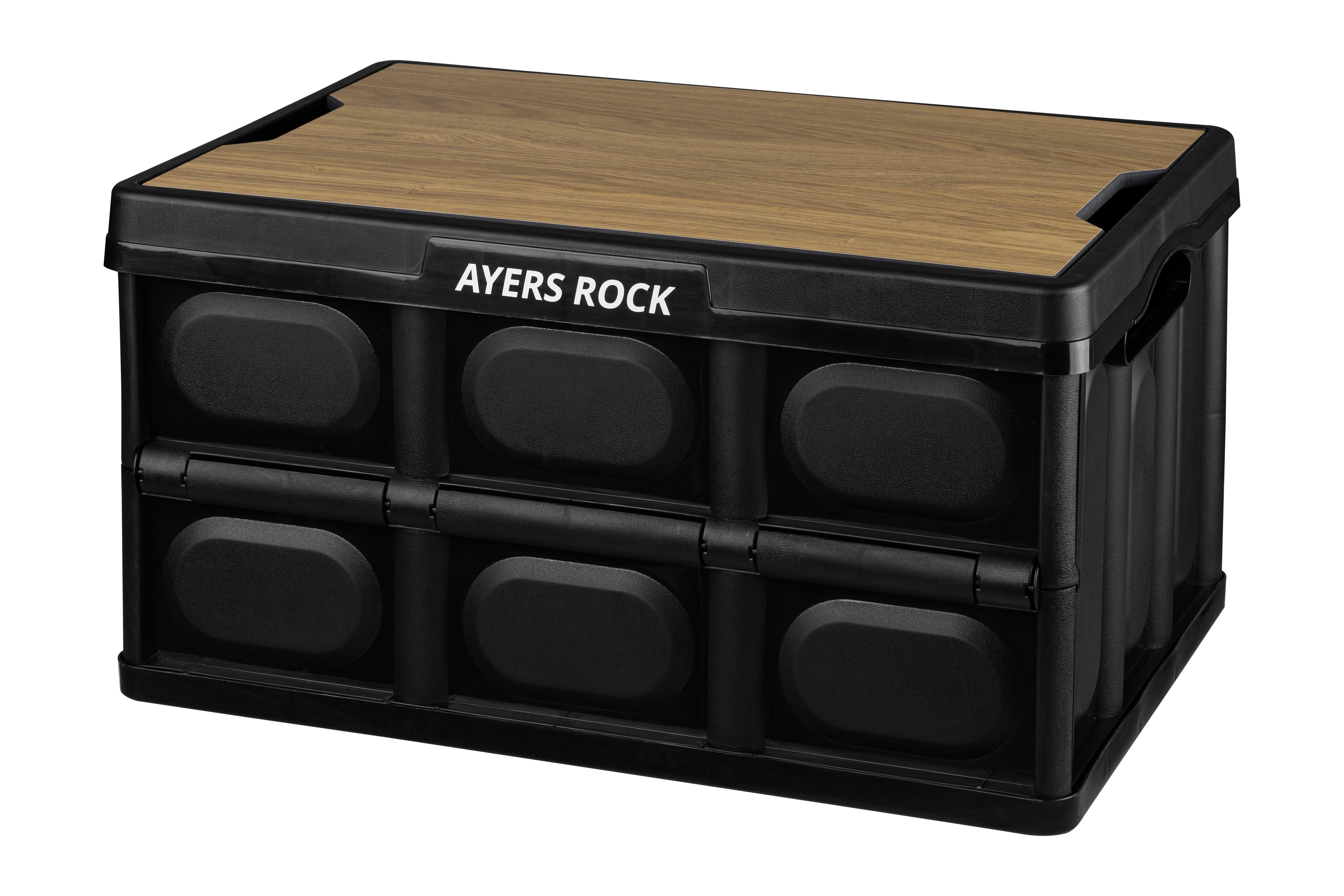 에어즈락 폴딩박스 + 캠핑스티커 + 캠핑테이블 식탁매트 세트 랜덤발송, 블랙(폴딩박스), 베이직 애쉬(상판)