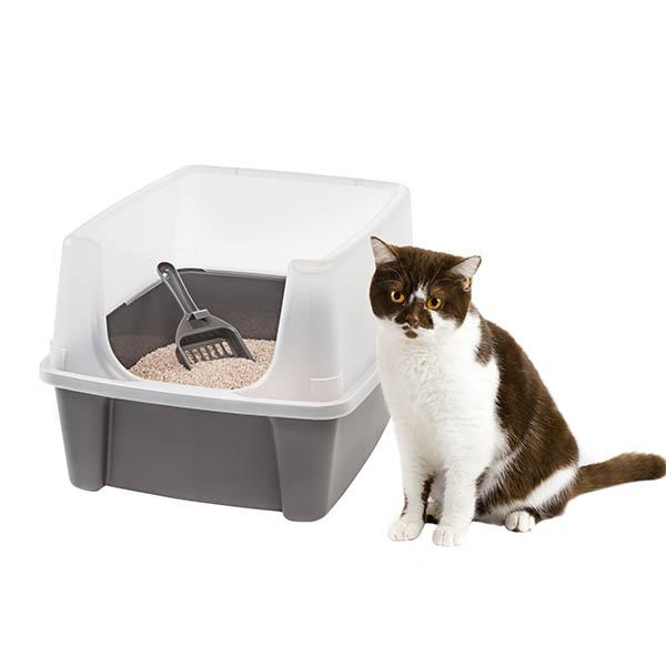 아이리스 평판 오픈형 고양이 화장실 CLH-12 + 모래삽, 다크그레이