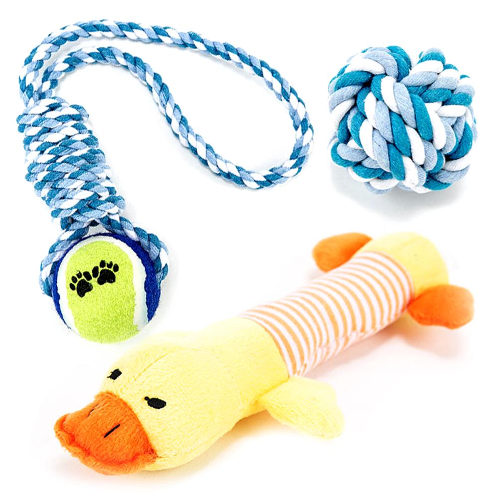 딩동펫 강아지장난감 로프공실타래 블루 + 오리봉제인형 + 실타래공 블루, 1세트