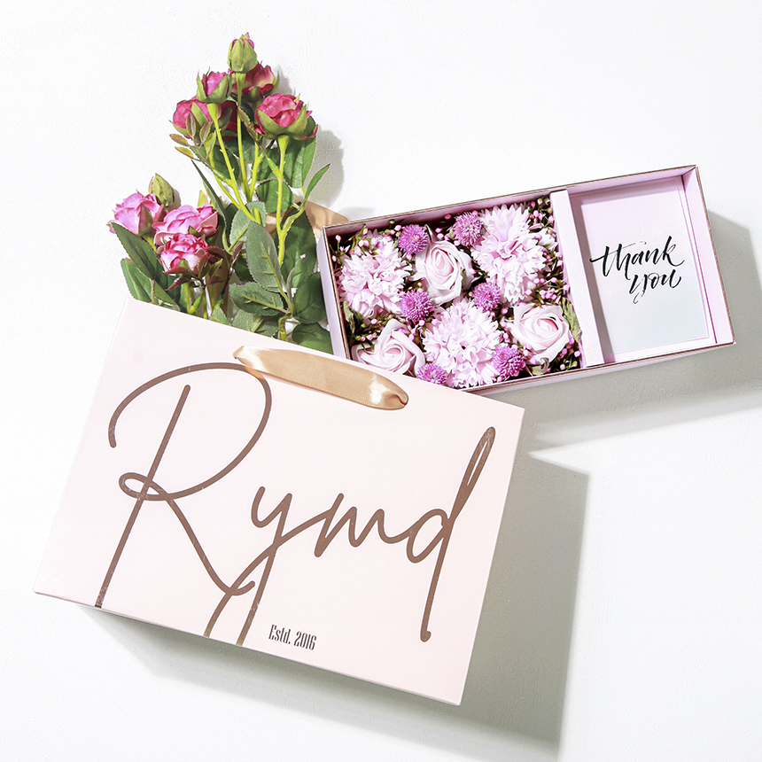 RYMD 조화 카네이션 플라워 용돈 박스 + 쇼핑백, 프리티 핑크