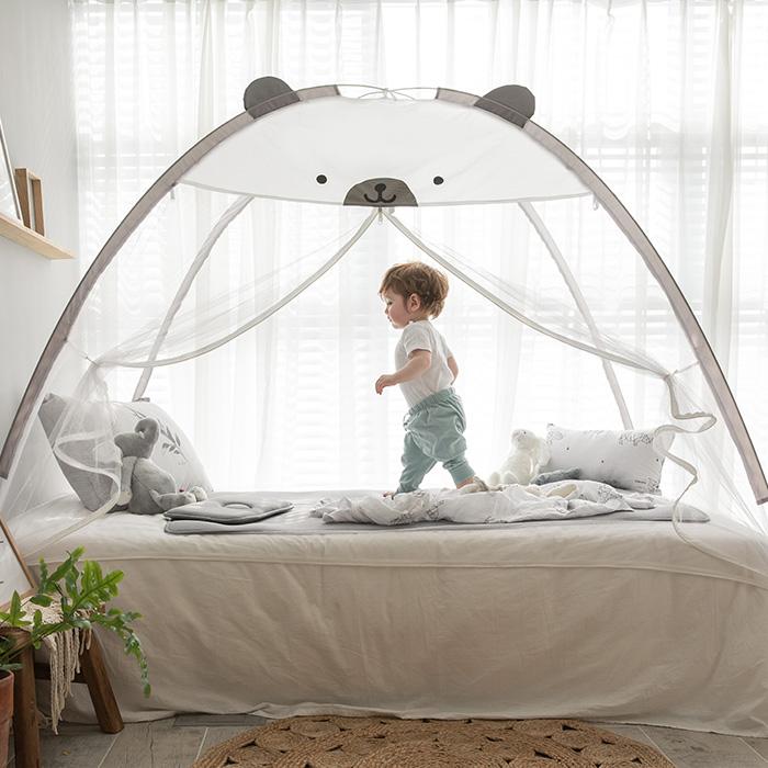 베베데코 텐트형 침대겸용 원터치모기장 테디 + 부직포 가방, 그레이