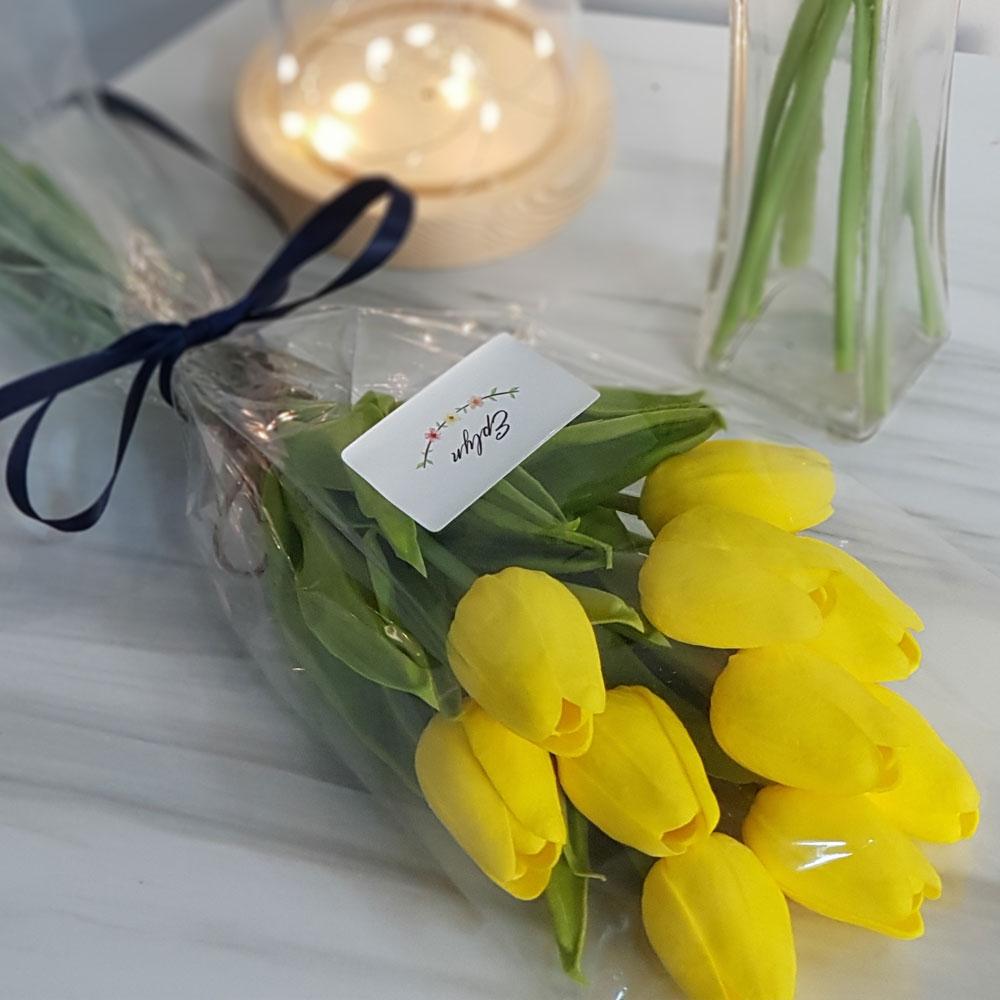 이플린 감성 조화 튤립 꽃다발 10송이, 옐로우