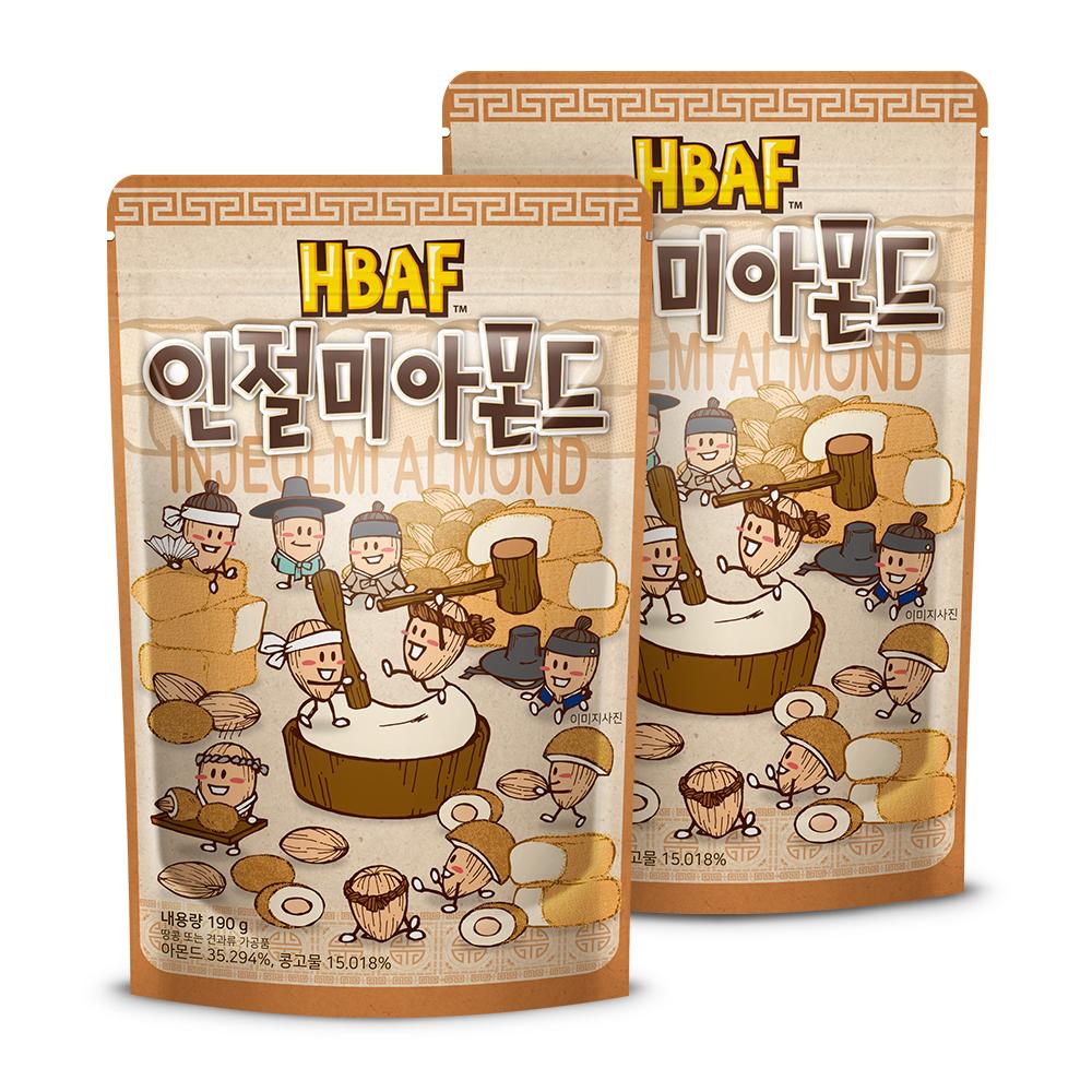 [바프 아몬드] HBAF 인절미 아몬드, 190g, 2개 - 랭킹39위 (8980원)