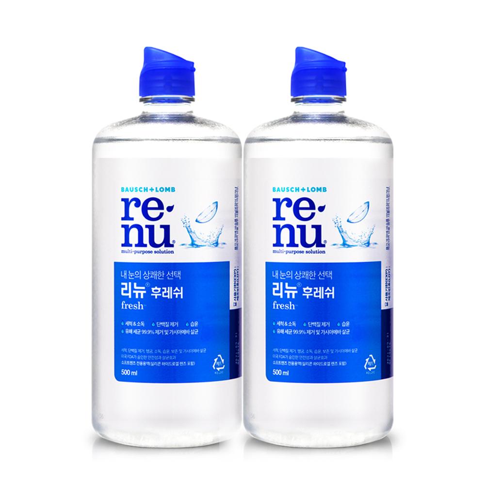 리뉴 후레쉬 렌즈 세정액, 500ml, 2개