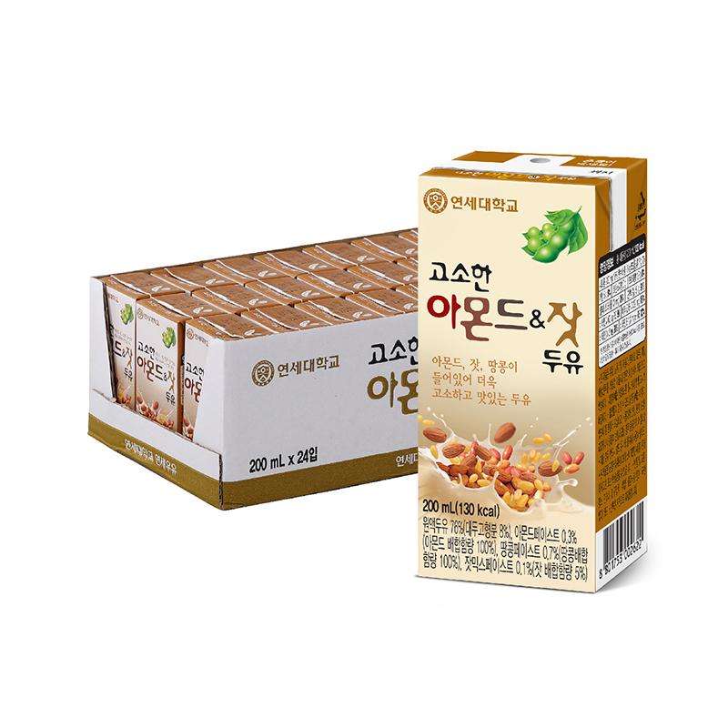 연세두유 아몬드 앤 잣 두유, 200ml, 24개