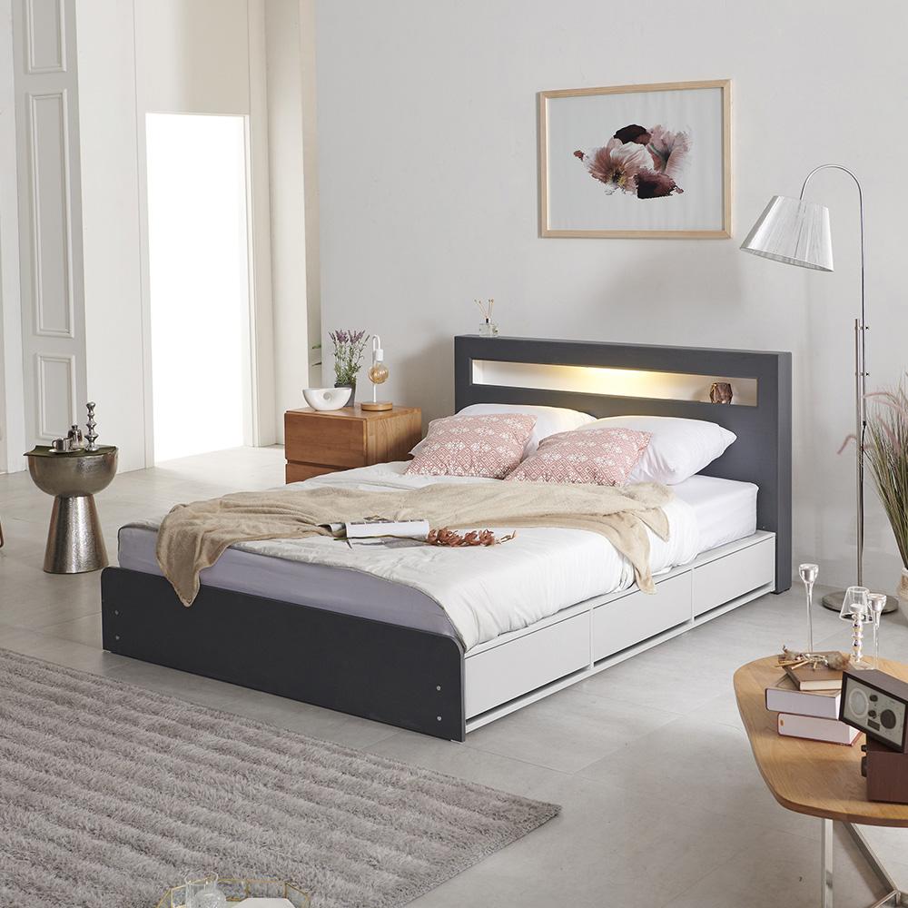 크렌시아 오로라2 LED 멀티수납 침대 + 독립 매트리스 CL20T 그레이화이트 방문설치