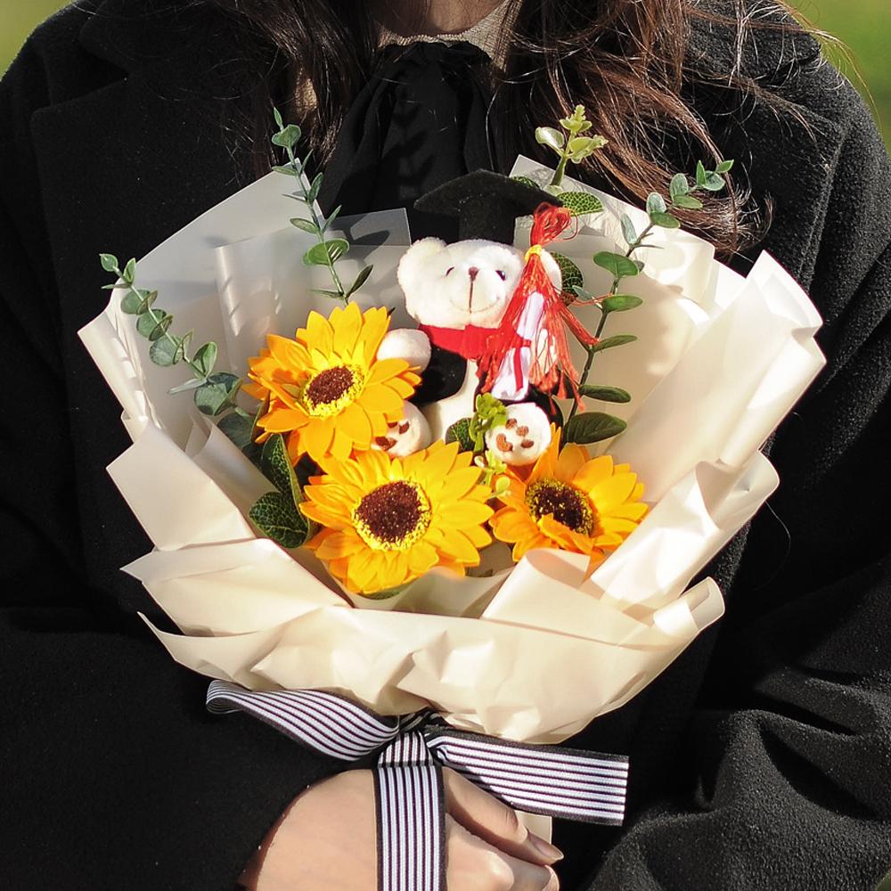 RYMD 조화 해바라기 학사모 인형 졸업식 꽃다발, 혼합 색상