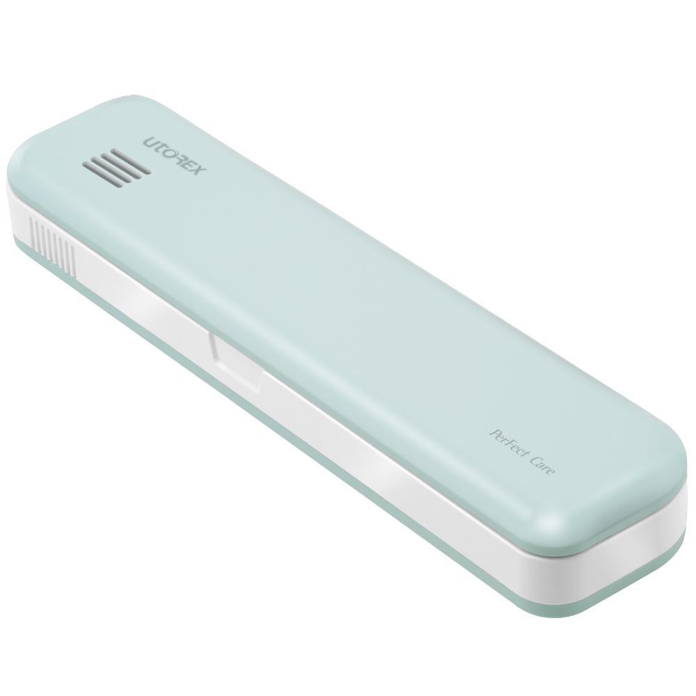 유토렉스 퍼펙트케어 충전식 휴대용 UV-C 건조 이중살균 칫솔살균기, PS2, 아쿠아블루