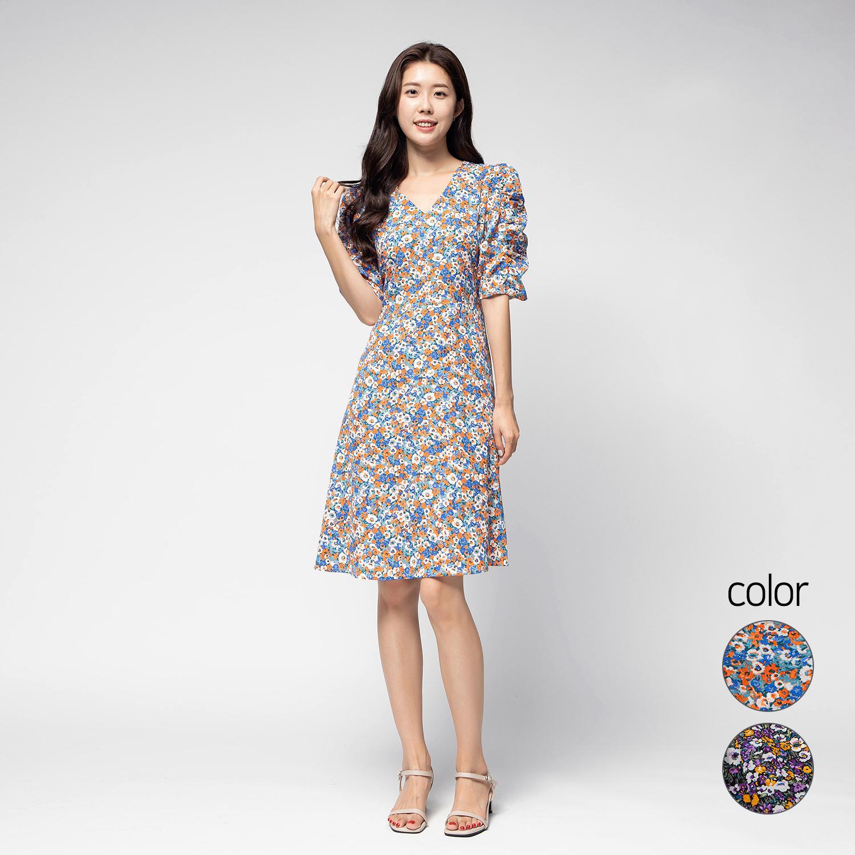 캐럿 여성 셔링 슬리브 드레스