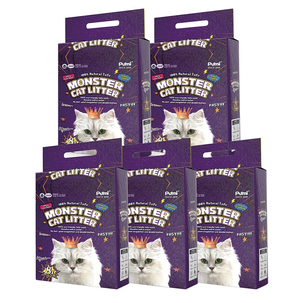 몬스터 캣리터 극세 두부 고양이 모래 베이비파우더향, 8L, 5개