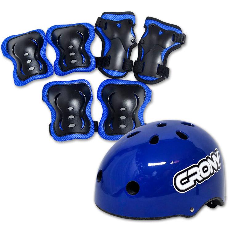 크로니 어반 인라인 자전거 보호장구세트, 블루