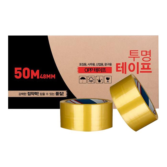 대박테이프 투명 박스테이프 48mm x 50m, 50개입
