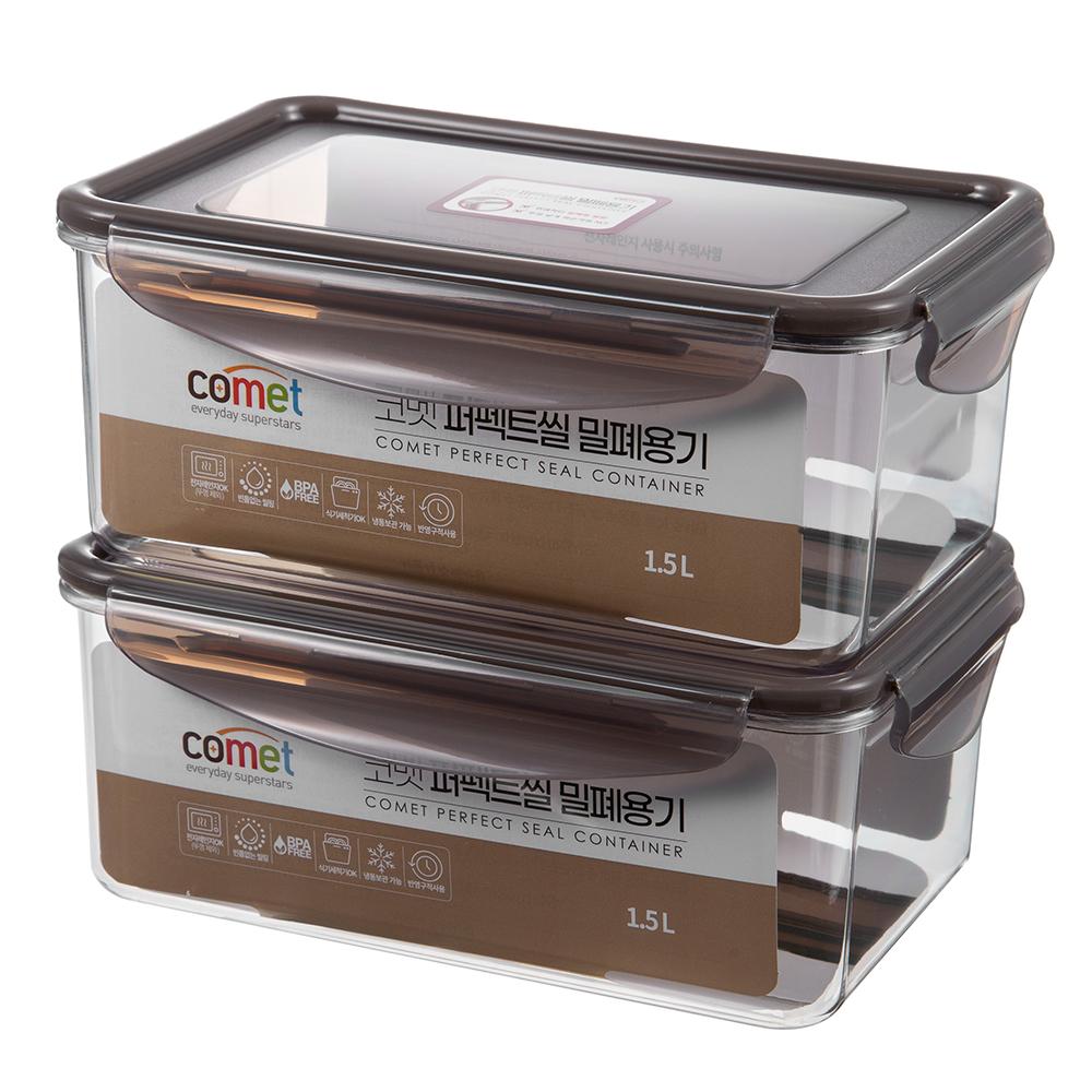 코멧 퍼펙트씰 밀폐용기, 1.5L, 2개입