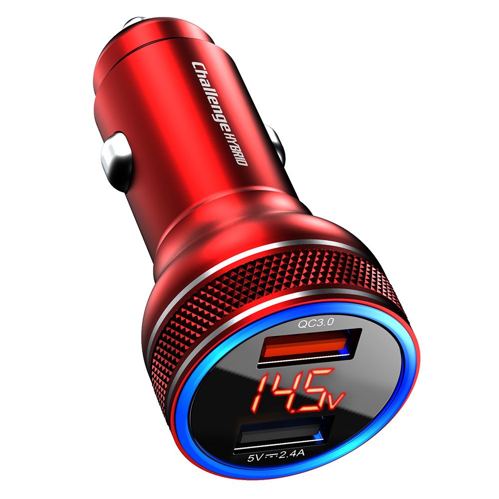 챌린지하이브리드 LED 전압표시 퀄컴 퀵차지3.0 듀얼 차량용 고속 충전기, 레드, CHC-8000QD