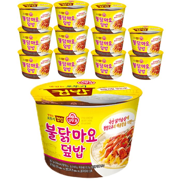 오뚜기 즉석 컵밥 불닭마요덮밥, 267g, 12개
