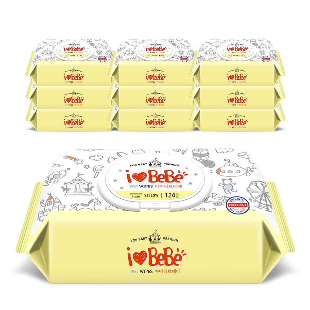 아이러브베베 플러스 라인 옐로우 아기물티슈 캡형, 120매, 10팩