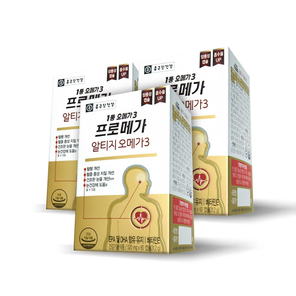 종근당건강 알티지 오메가3 영양제, 60정, 3개