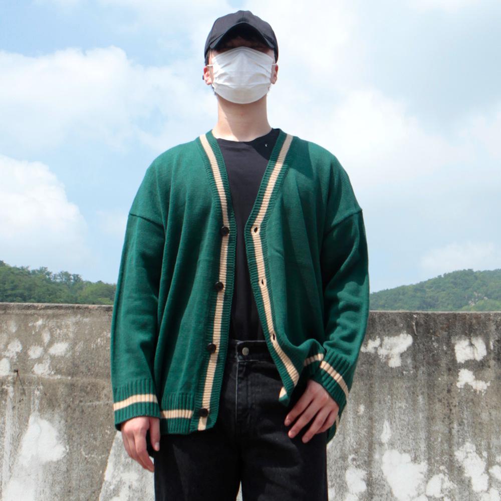 리셋 남성용 원 포인트 오버핏 브이넥 니트 가디건