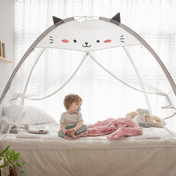 베베데코 텐트형 침대겸용 원터치모기장 캣츠 + 부직포 가방, 블랙 + 화이트