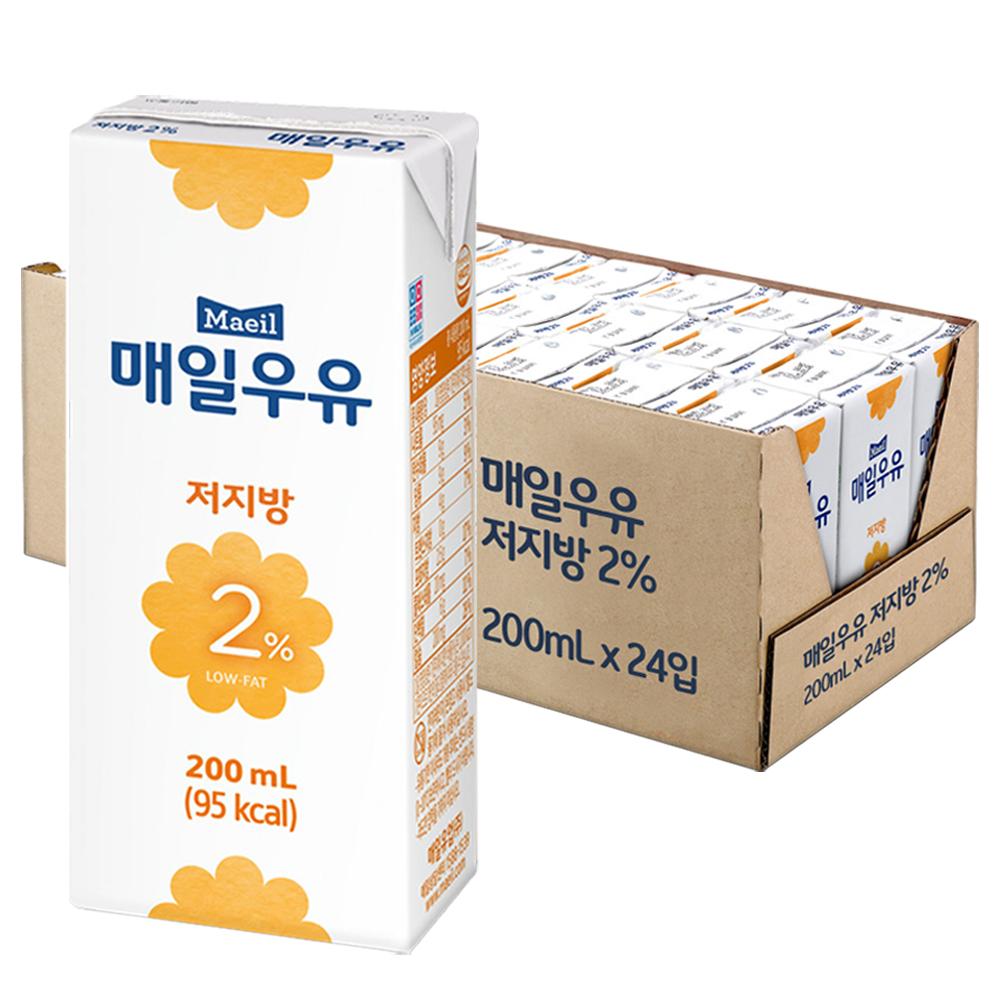 매일유업 저지방 2% 우유, 200ml, 24팩