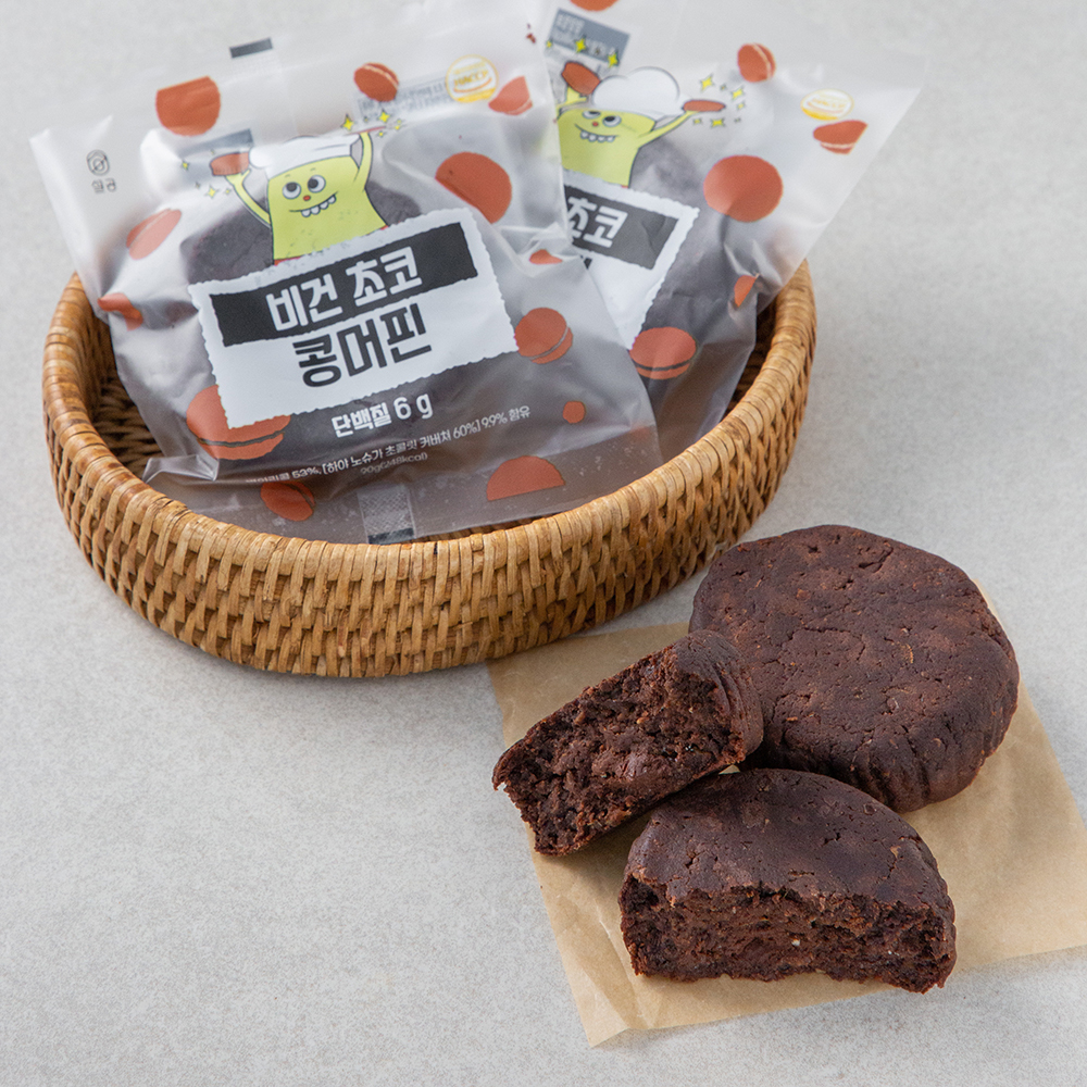 설탕없는과자공장 비건 초코 콩머핀, 90g, 3개입